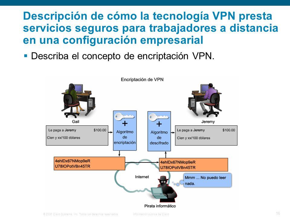 © 2006 Cisco Systems, Inc. Todos los derechos reservados. Información pública de Cisco 16 Descripción de cómo la tecnología VPN presta servicios segur