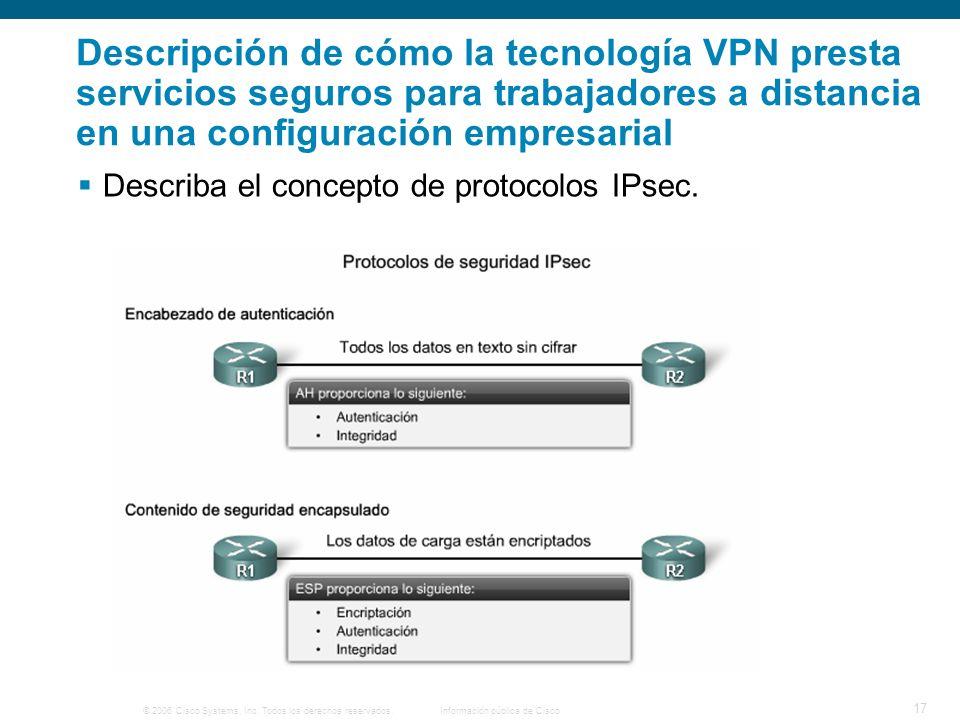 © 2006 Cisco Systems, Inc. Todos los derechos reservados. Información pública de Cisco 17 Descripción de cómo la tecnología VPN presta servicios segur