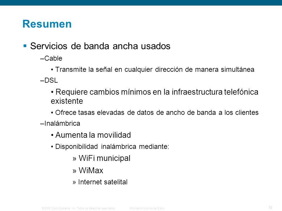 © 2006 Cisco Systems, Inc. Todos los derechos reservados. Información pública de Cisco 19 Resumen Servicios de banda ancha usados –Cable Transmite la