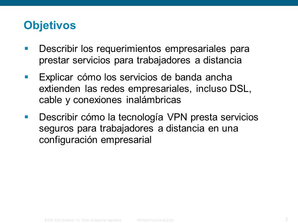 © 2006 Cisco Systems, Inc. Todos los derechos reservados. Información pública de Cisco 2 Objetivos Describir los requerimientos empresariales para pre