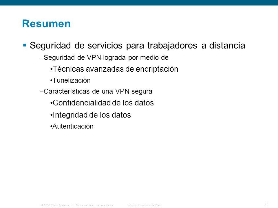 © 2006 Cisco Systems, Inc. Todos los derechos reservados. Información pública de Cisco 20 Resumen Seguridad de servicios para trabajadores a distancia