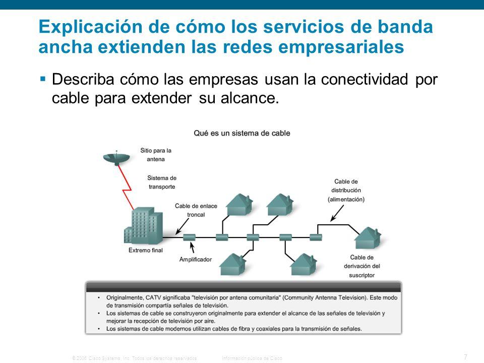 © 2006 Cisco Systems, Inc. Todos los derechos reservados. Información pública de Cisco 7 Explicación de cómo los servicios de banda ancha extienden la