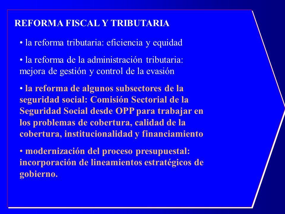 REFORMA FISCAL Y TRIBUTARIA la reforma tributaria: eficiencia y equidad la reforma de la administración tributaria: mejora de gestión y control de la