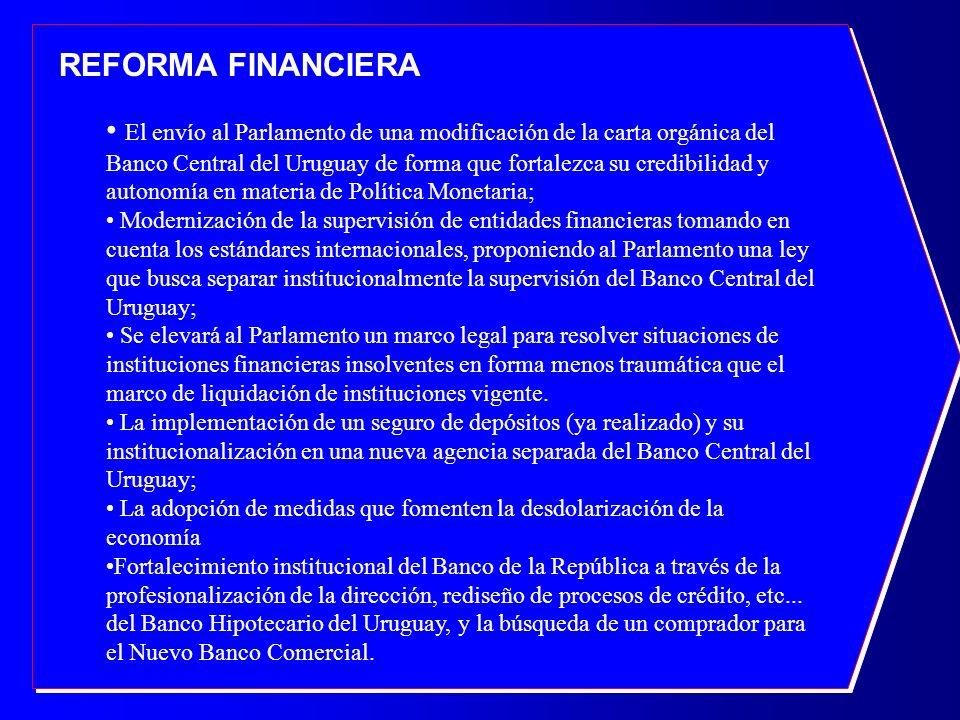 REFORMA FINANCIERA El envío al Parlamento de una modificación de la carta orgánica del Banco Central del Uruguay de forma que fortalezca su credibilid