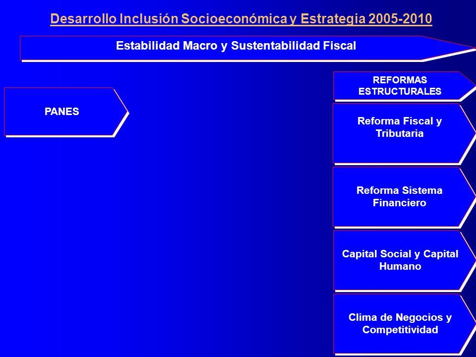 PANES Clima de Negocios y Competitividad Reforma Sistema Financiero Reforma Fiscal y Tributaria Reforma Fiscal y Tributaria Capital Social y Capital Humano Capital Social y Capital Humano Estabilidad Macro y Sustentabilidad Fiscal REFORMAS ESTRUCTURALES Desarrollo Inclusión Socioeconómica y Estrategia 2005-2010