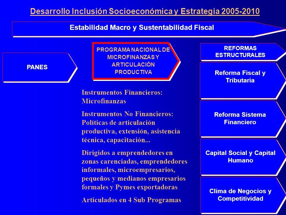 PANES Clima de Negocios y Competitividad Reforma Sistema Financiero Reforma Fiscal y Tributaria Capital Social y Capital Humano Estabilidad Macro y Sustentabilidad Fiscal REFORMAS ESTRUCTURALES PROGRAMA NACIONAL DE MICROFINANZAS Y ARTICULACIÓN PRODUCTIVA PROGRAMA NACIONAL DE MICROFINANZAS Y ARTICULACIÓN PRODUCTIVA Instrumentos Financieros: Microfinanzas Instrumentos No Financieros: Políticas de articulación productiva, extensión, asistencia técnica, capacitación...