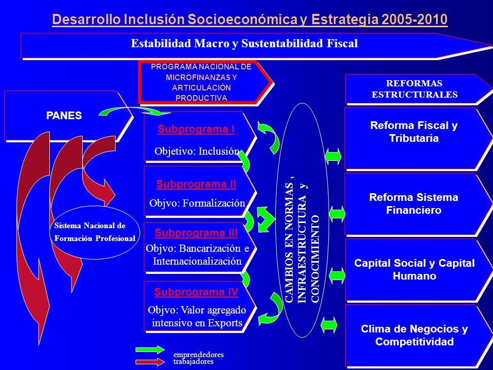 PANES Subprograma I Clima de Negocios y Competitividad emprendedores trabajadores Reforma Sistema Financiero Reforma Fiscal y Tributaria Capital Social y Capital Humano Sistema Nacional de Formación Profesional Estabilidad Macro y Sustentabilidad Fiscal Objetivo: Inclusión Subprograma II Subprograma III Subprograma IV CAMBIOS EN NORMAS, INFRAESTRUCTURA y CONOCIMIENTO Objvo: Valor agregado intensivo en Exports Objvo: Bancarización e Internacionalización Objvo: Formalización REFORMAS ESTRUCTURALES PROGRAMA NACIONAL DE MICROFINANZAS Y ARTICULACIÓN PRODUCTIVA PROGRAMA NACIONAL DE MICROFINANZAS Y ARTICULACIÓN PRODUCTIVA Desarrollo Inclusión Socioeconómica y Estrategia 2005-2010