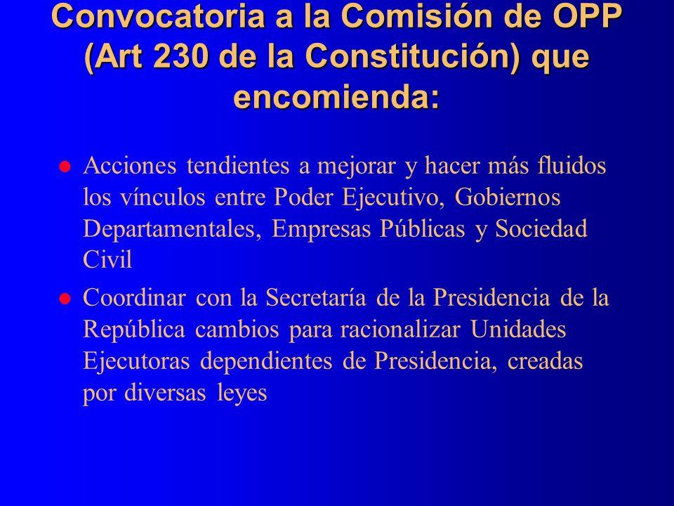 Convocatoria a la Comisión de OPP (Art 230 de la Constitución) que encomienda: l Acciones tendientes a mejorar y hacer más fluidos los vínculos entre
