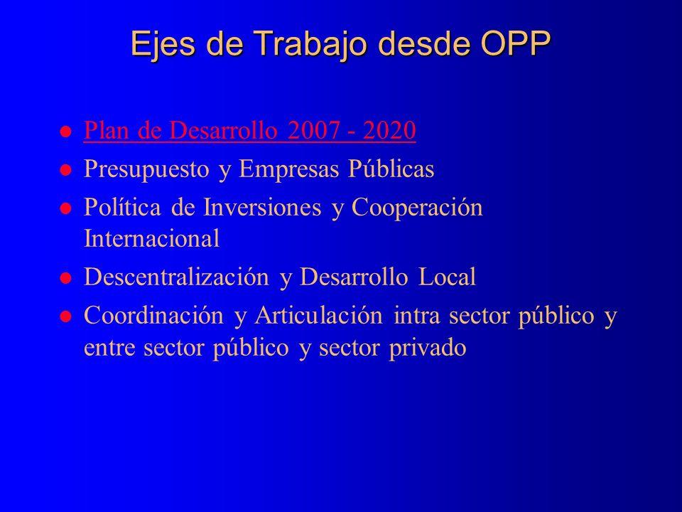 Ejes de Trabajo desde OPP l Plan de Desarrollo 2007 - 2020 Plan de Desarrollo 2007 - 2020 l Presupuesto y Empresas Públicas l Política de Inversiones y Cooperación Internacional l Descentralización y Desarrollo Local l Coordinación y Articulación intra sector público y entre sector público y sector privado