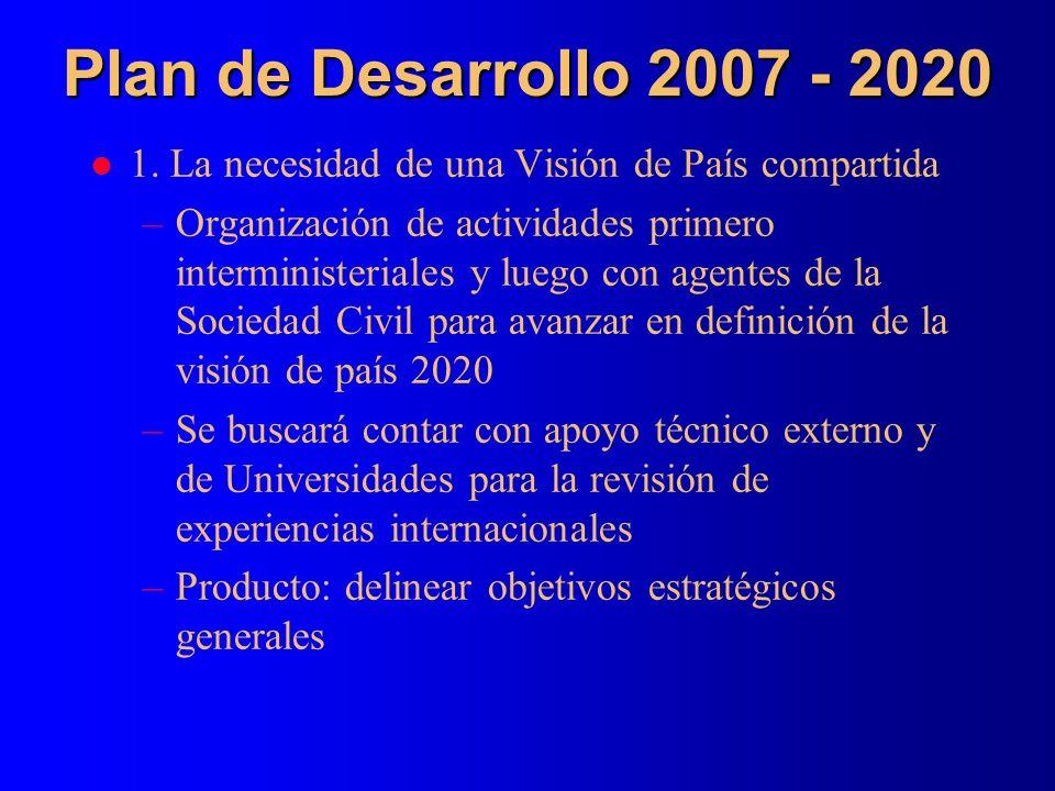 Plan de Desarrollo 2007 - 2020 l 1. La necesidad de una Visión de País compartida –Organización de actividades primero interministeriales y luego con