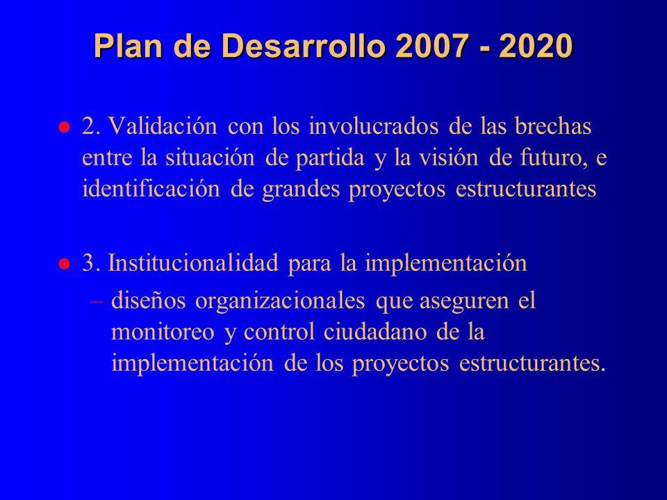 Plan de Desarrollo 2007 - 2020 l 2. Validación con los involucrados de las brechas entre la situación de partida y la visión de futuro, e identificaci