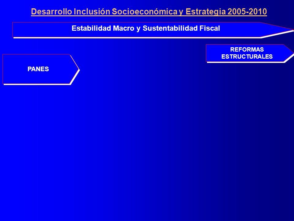 PANES Estabilidad Macro y Sustentabilidad Fiscal REFORMAS ESTRUCTURALES Desarrollo Inclusión Socioeconómica y Estrategia 2005-2010