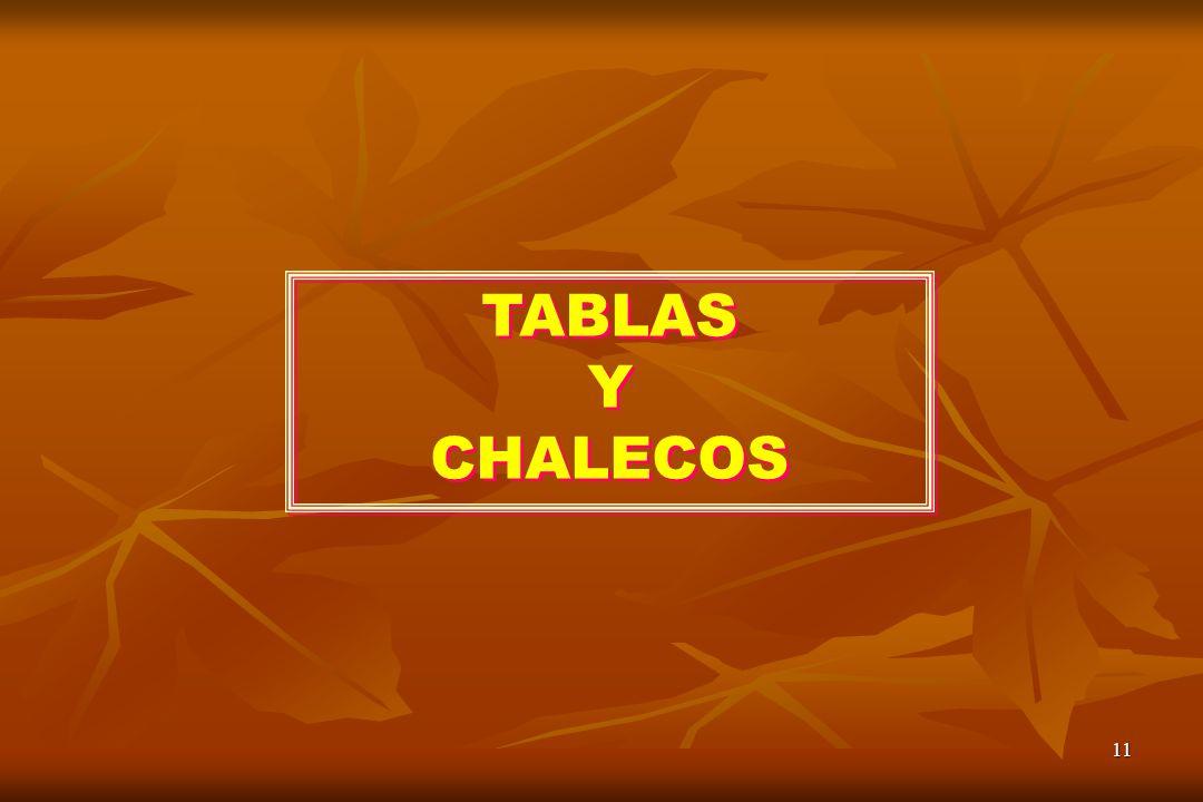 11 TABLAS Y CHALECOS TABLAS Y CHALECOS