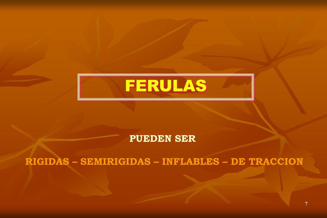 7 FERULAS PUEDEN SER RIGIDAS – SEMIRIGIDAS – INFLABLES – DE TRACCION