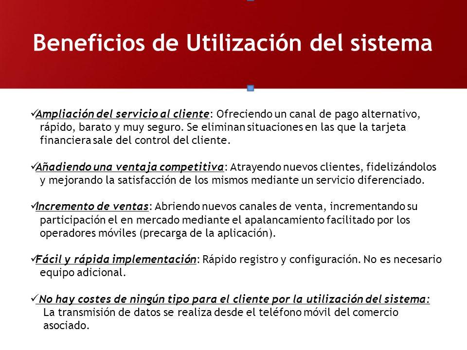 Beneficios de Utilización del sistema Ampliación del servicio al cliente: Ofreciendo un canal de pago alternativo, rápido, barato y muy seguro. Se eli