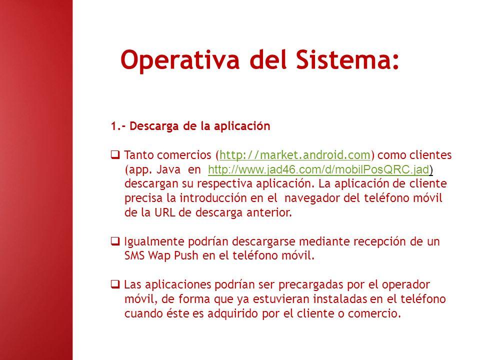 Operativa del Sistema: 1.- Descarga de la aplicación Tanto comercios (http://market.android.com) como clienteshttp://market.android.com (app. Java en