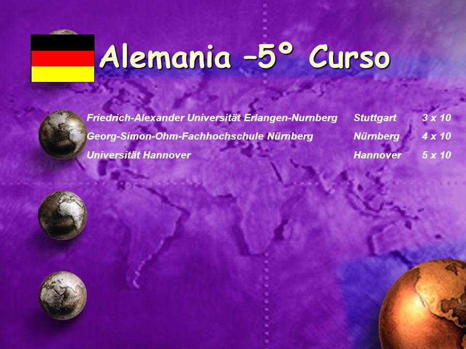 Alemania –5º Curso Friedrich-Alexander Universität Erlangen-Nurnberg Stuttgart 3 x 10 Georg-Simon-Ohm-Fachhochschule NürnbergNürnberg 4 x 10 Universit