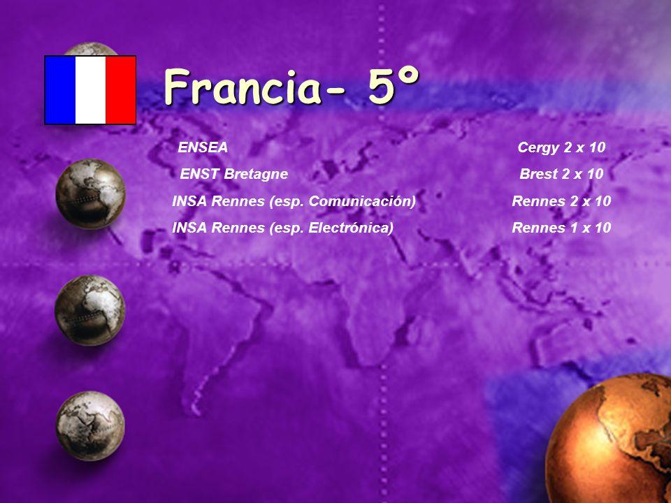 Francia- 5º ENSEA Cergy 2 x 10 ENST Bretagne Brest 2 x 10 INSA Rennes (esp. Comunicación) Rennes 2 x 10 INSA Rennes (esp. Electrónica) Rennes 1 x 10