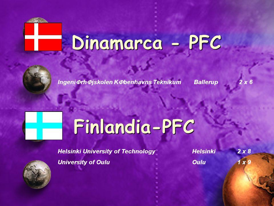 Ingeni rh jskolen K benhavns Teknikum Ballerup 2 x 6 Dinamarca - PFC Helsinki University of TechnologyHelsinki2 x 8 University of OuluOulu1 x 9 Finlan