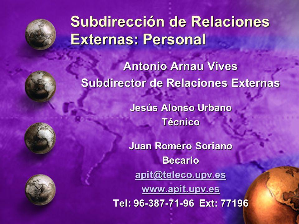 Subdirección de Relaciones Externas: Personal Antonio Arnau Vives Subdirector de Relaciones Externas Jesús Alonso Urbano Técnico Juan Romero Soriano B