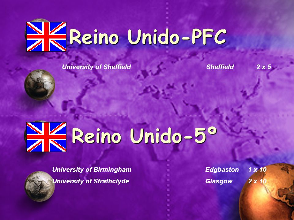 University of Sheffield Sheffield 2 x 5 Reino Unido-PFC University of BirminghamEdgbaston1 x 10 University of StrathclydeGlasgow2 x 10 Reino Unido-5º