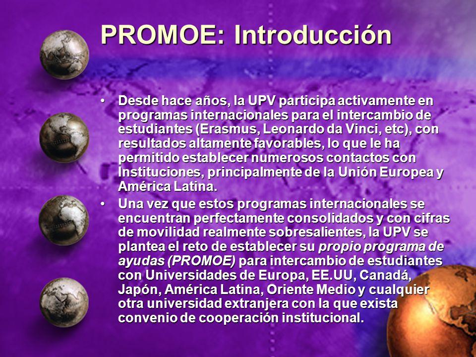 PROMOE: Introducción Desde hace años, la UPV participa activamente en programas internacionales para el intercambio de estudiantes (Erasmus, Leonardo
