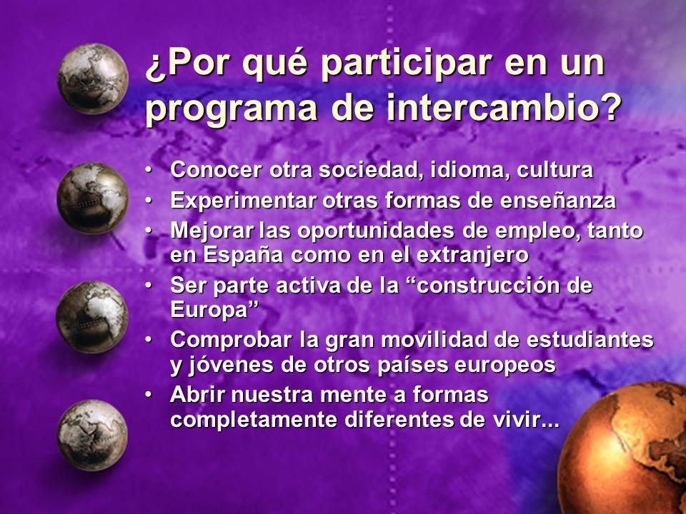 ¿Por qué participar en un programa de intercambio? Conocer otra sociedad, idioma, culturaConocer otra sociedad, idioma, cultura Experimentar otras for