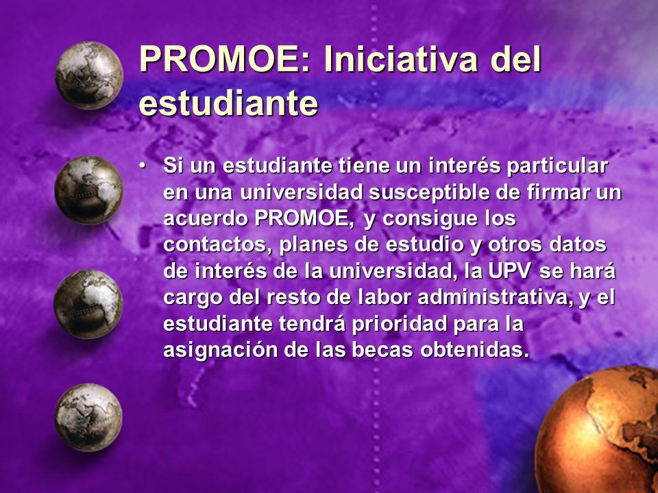PROMOE: Iniciativa del estudiante Si un estudiante tiene un interés particular en una universidad susceptible de firmar un acuerdo PROMOE, y consigue