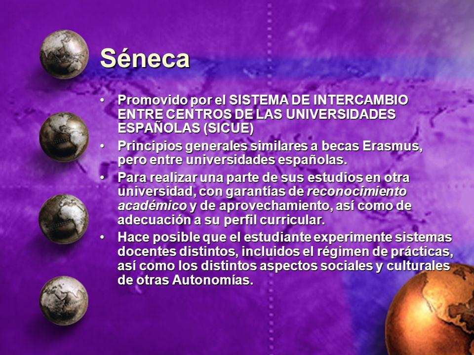 Séneca Promovido por el SISTEMA DE INTERCAMBIO ENTRE CENTROS DE LAS UNIVERSIDADES ESPAÑOLAS (SICUE)Promovido por el SISTEMA DE INTERCAMBIO ENTRE CENTR