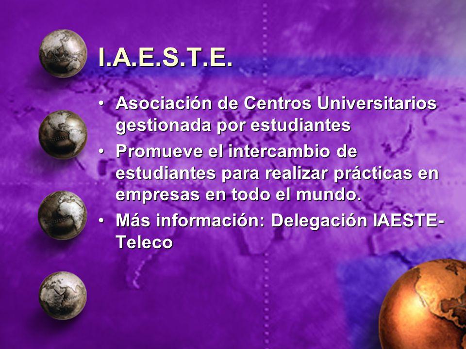 I.A.E.S.T.E. Asociación de Centros Universitarios gestionada por estudiantesAsociación de Centros Universitarios gestionada por estudiantes Promueve e