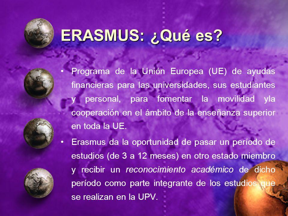 ERASMUS: ¿Qué es? Programa de la Unión Europea (UE) de ayudas financieras para las universidades, sus estudiantes y personal, para fomentar la movilid