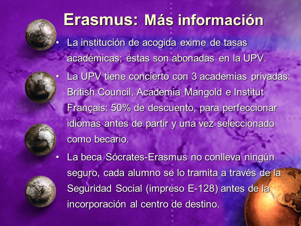 Erasmus: Más información La institución de acogida exime de tasas académicas; éstas son abonadas en la UPV.La institución de acogida exime de tasas ac
