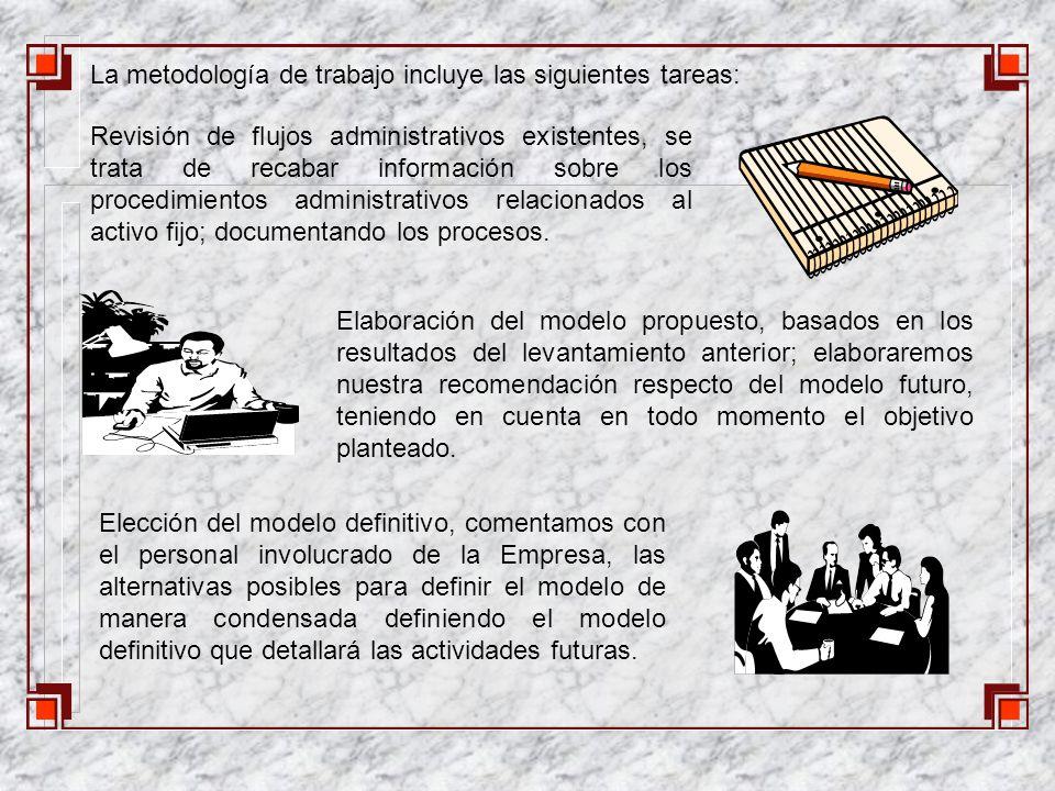 La metodología de trabajo incluye las siguientes tareas: Revisión de flujos administrativos existentes, se trata de recabar información sobre los procedimientos administrativos relacionados al activo fijo; documentando los procesos.