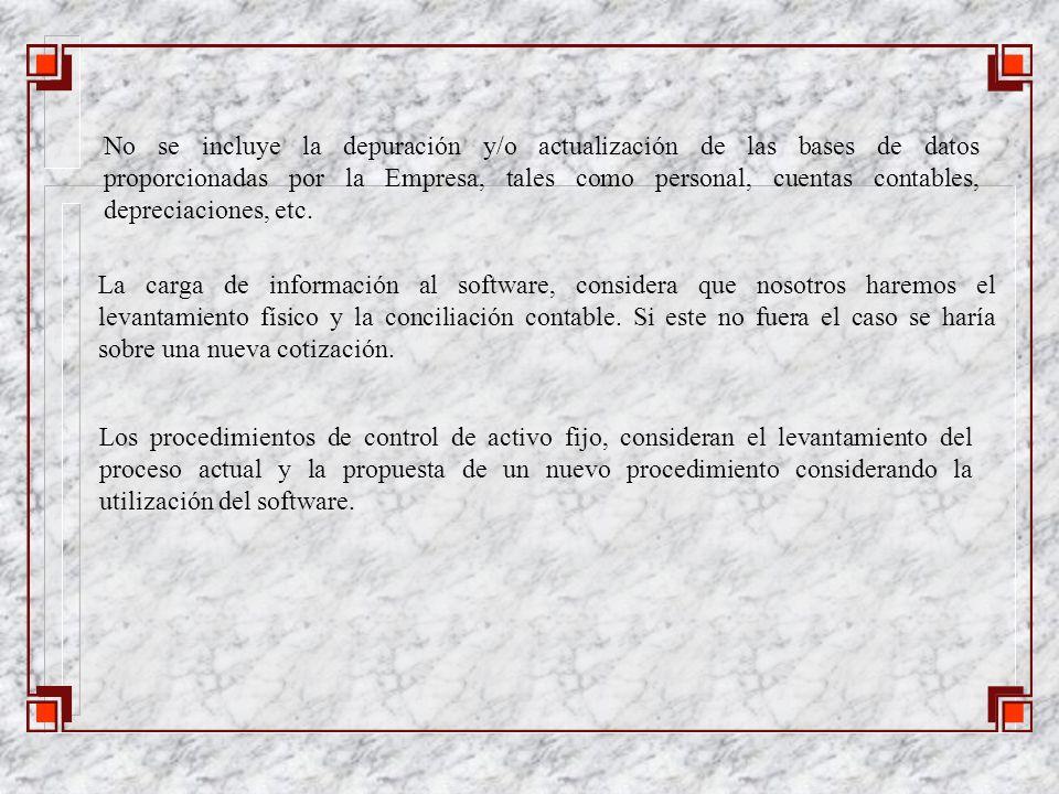 La carga de información al software, considera que nosotros haremos el levantamiento físico y la conciliación contable.