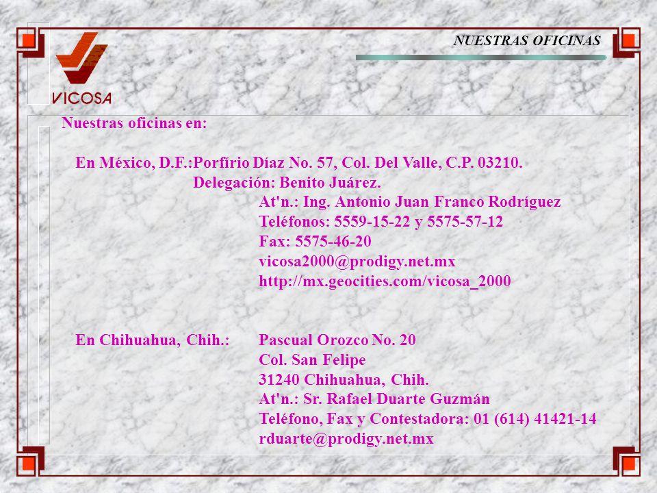 NUESTRAS OFICINAS Nuestras oficinas en: En México, D.F.:Porfírio Díaz No.