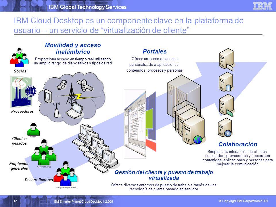 IBM Global Technology Services © Copyright IBM Corporation 2.009 IBM Smarter Planet Cloud Desktop | 2.009 12 IBM Cloud Desktop es un componente clave