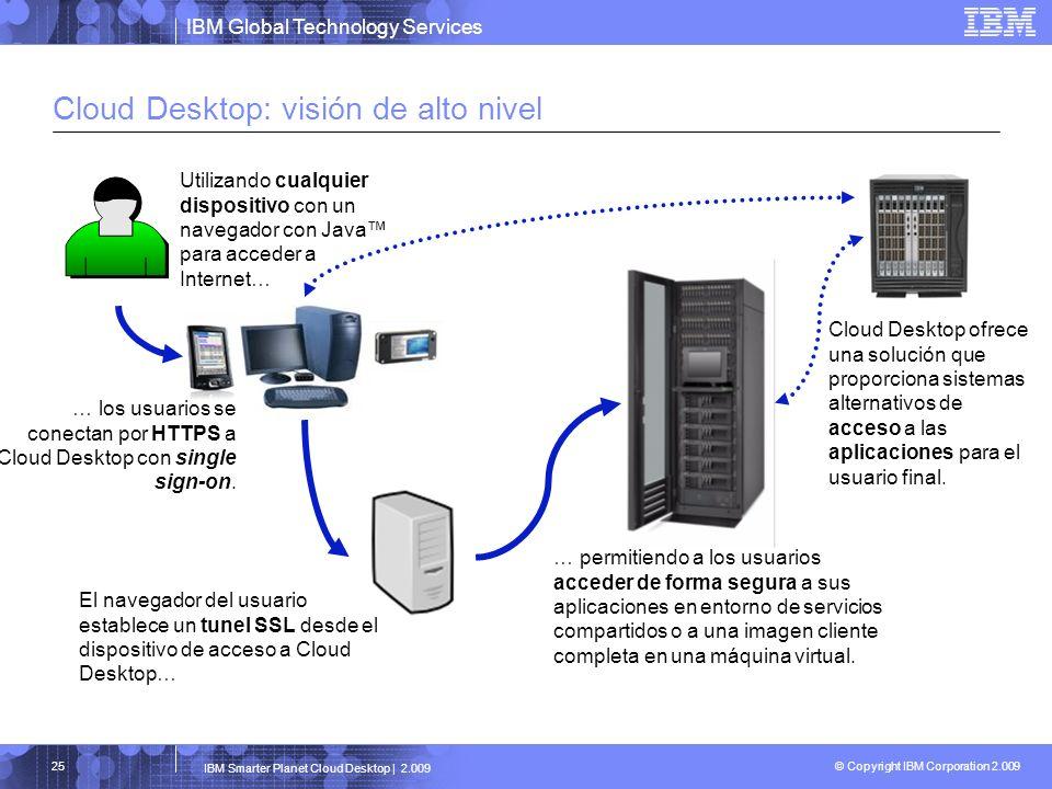 IBM Global Technology Services © Copyright IBM Corporation 2.009 IBM Smarter Planet Cloud Desktop | 2.009 25 Cloud Desktop: visión de alto nivel Utili