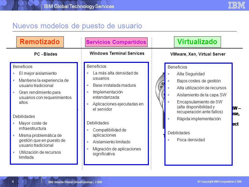 IBM Global Technology Services © Copyright IBM Corporation 2.009 IBM Smarter Planet Cloud Desktop | 2.009 17 Planificación Adquisición Despliegue Soporte Renovación Asset Management Definición de requerimientos Planificación Forma de adquisición Nivel de servicio Planes de transición Gestión de proyecto Compra (HW, SW) Financiación Gestión de activos Gestión de pedidos (seguimiento e informes) Preparación previa Planificación de espacio Logística Desarrollo de imagenes, carga y gestión Migración de datos Instalación y pruebas Distribución de SW Gestión de licencias de SW Gestión del rendimiento Monitorización e informes Mantenimiento HW/SW Gestión de incidencias Help desk Cambios de localización / nuevos puestos Coordinación IMAC Gestión de imágenes Gestión de activos Backup y recuperación de datos Periodo de renovación Retirada de activos Eliminación de datos Reutilización Ciclo de vida del puesto de usuario en un entorno basado en PC
