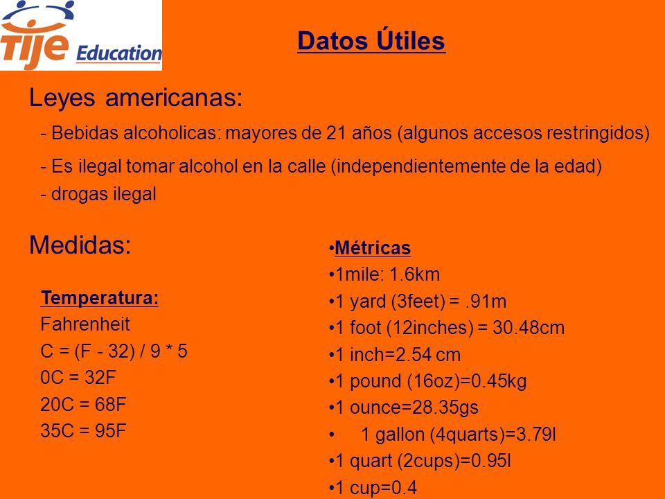 Datos Útiles Leyes americanas: - Bebidas alcoholicas: mayores de 21 años (algunos accesos restringidos) Medidas: Temperatura: Fahrenheit C = (F - 32) / 9 * 5 0C = 32F 20C = 68F 35C = 95F Métricas 1mile: 1.6km 1 yard (3feet) =.91m 1 foot (12inches) = 30.48cm 1 inch=2.54 cm 1 pound (16oz)=0.45kg 1 ounce=28.35gs 1 gallon (4quarts)=3.79l 1 quart (2cups)=0.95l 1 cup=0.4 - Es ilegal tomar alcohol en la calle (independientemente de la edad) - drogas ilegal
