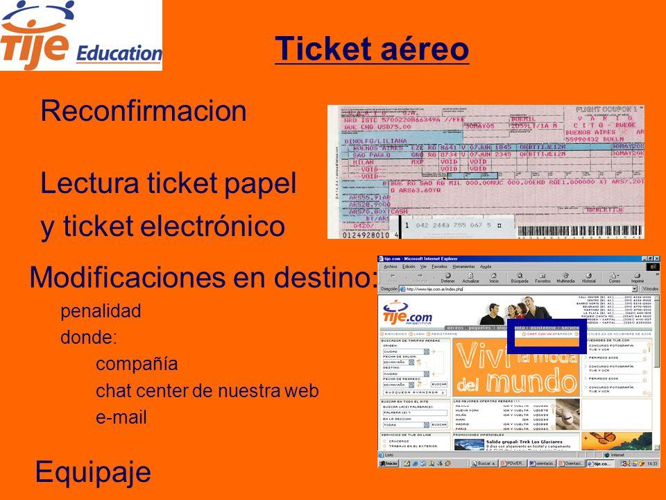 Ticket aéreo Reconfirmacion Lectura ticket papel y ticket electrónico Modificaciones en destino: penalidad donde: compañía chat center de nuestra web e-mail Equipaje