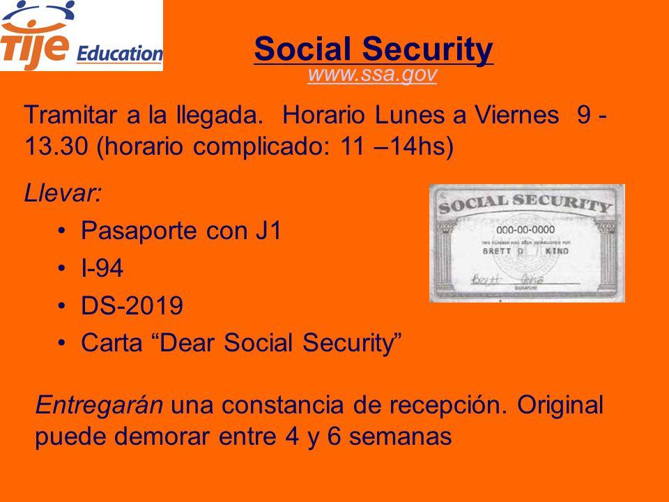 Social Security Tramitar a la llegada.