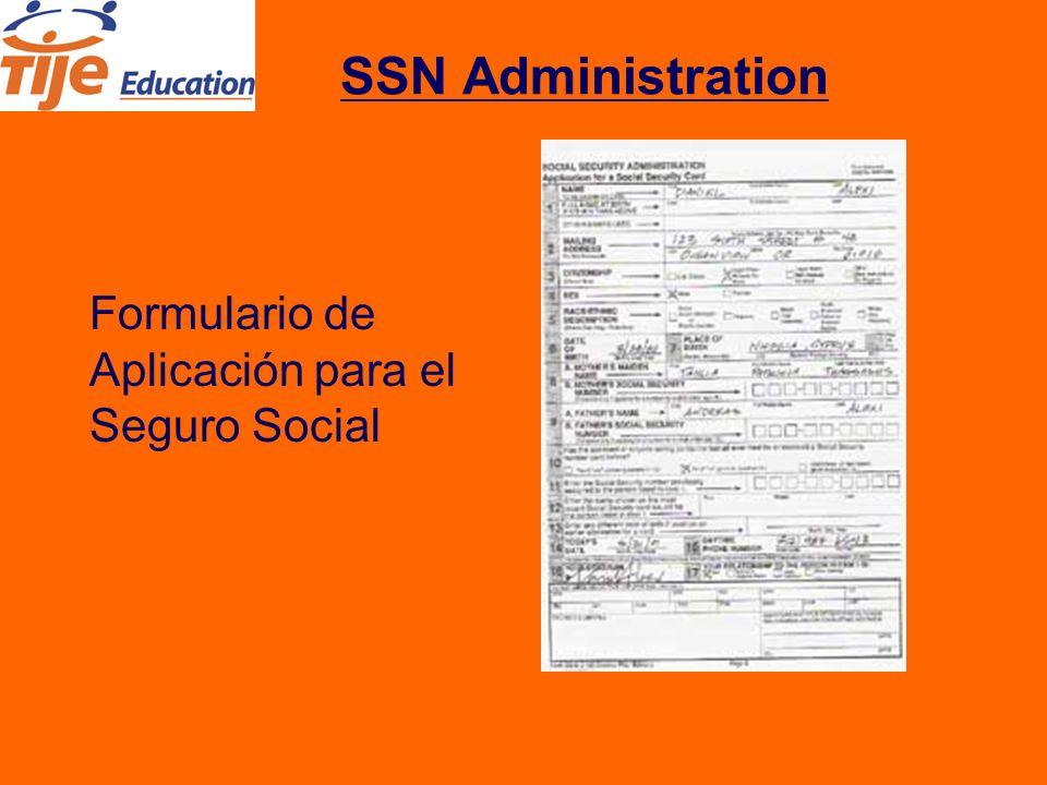 SSN Administration Formulario de Aplicación para el Seguro Social