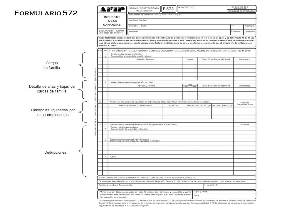 Cargas de familia Detalle de altas y bajas de cargas de familia Ganancias liquidadas por otros empleadores Deducciones Formulario 572