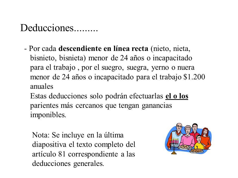 Deducciones......... - Por cada descendiente en línea recta (nieto, nieta, bisnieto, bisnieta) menor de 24 años o incapacitado para el trabajo, por el