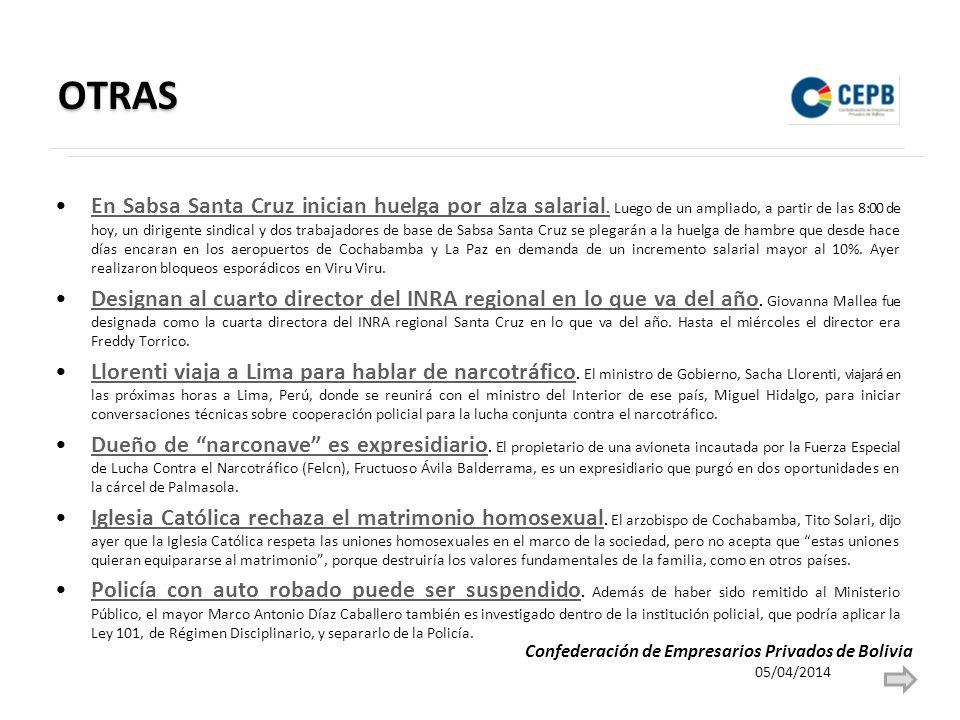 OTRAS En Sabsa Santa Cruz inician huelga por alza salarial.