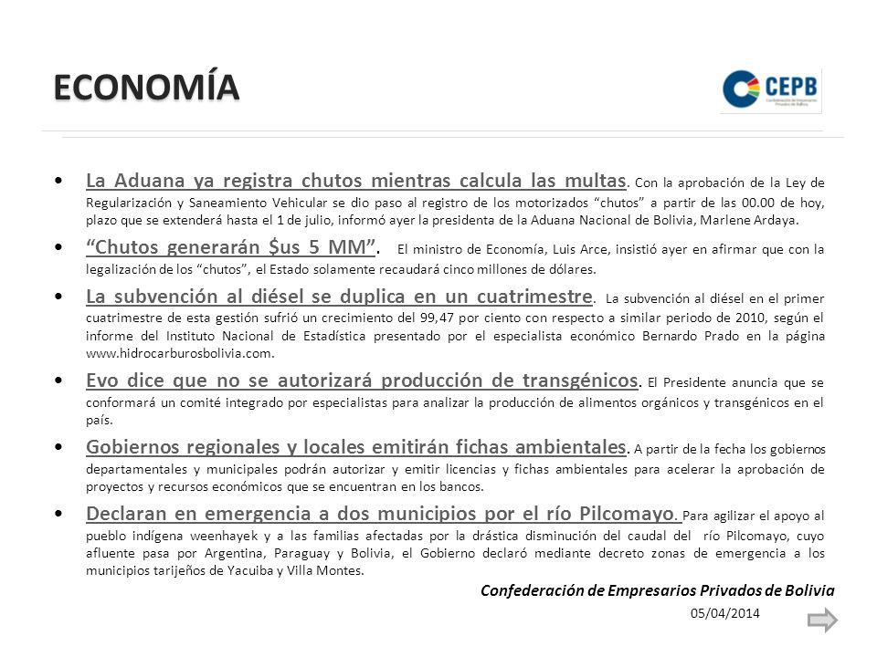 ECONOMÍA 05/04/2014 Confederación de Empresarios Privados de Bolivia Cochabamba tiene reto de crear 120 mil empleos.