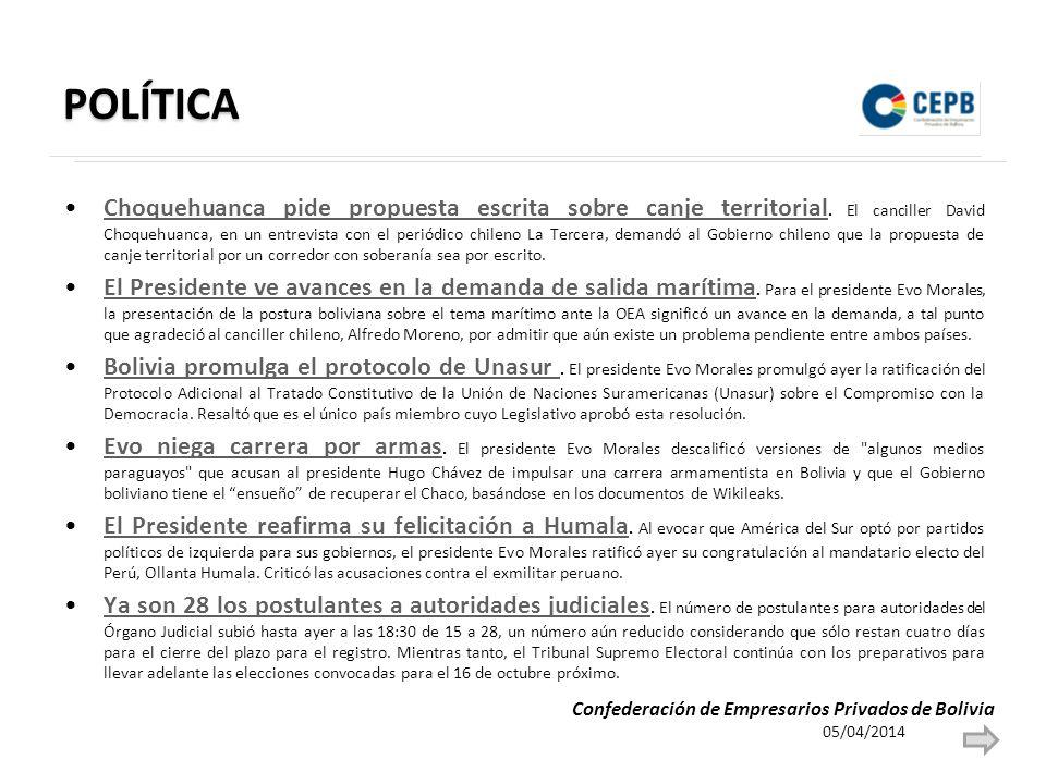 POLÍTICA Choquehuanca pide propuesta escrita sobre canje territorial. El canciller David Choquehuanca, en un entrevista con el periódico chileno La Te