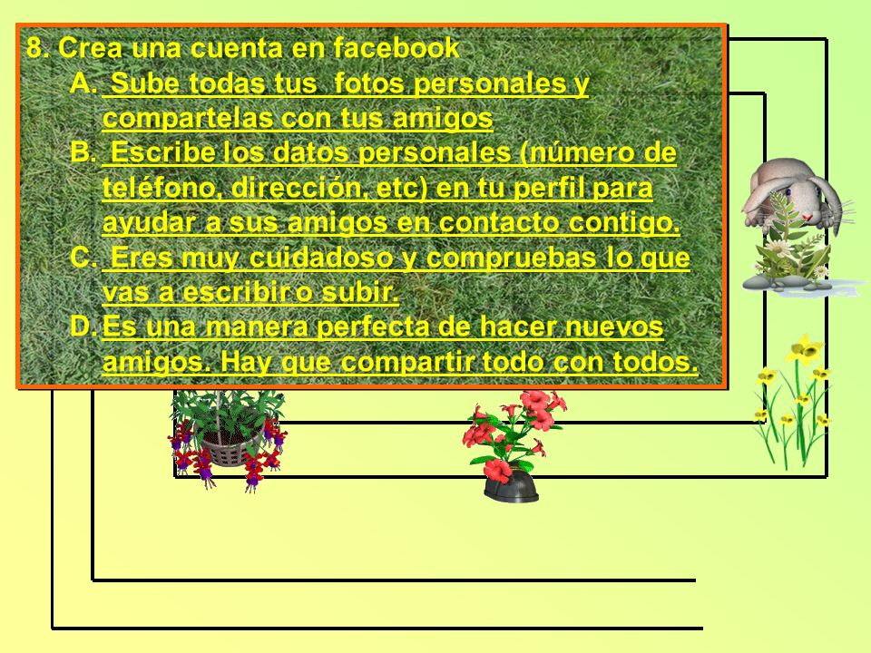 8. Crea una cuenta en facebook A.