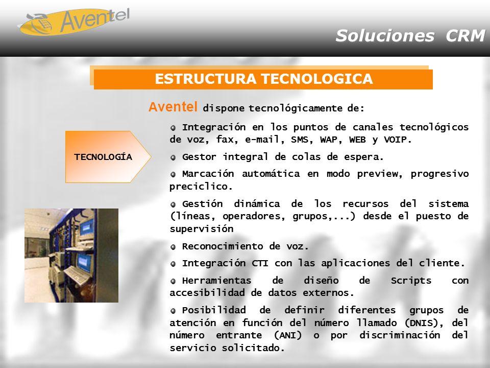 Soluciones CRM ESTRUCTURA TECNOLOGICA A ventel dispone tecnológicamente de: Integración en los puntos de canales tecnológicos de voz, fax, e-mail, SMS, WAP, WEB y VOIP.