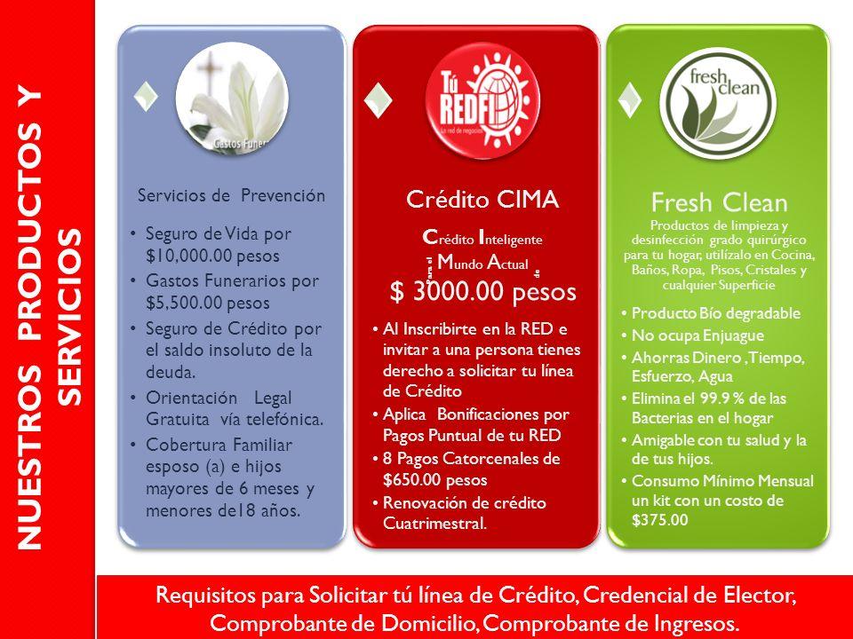 Servicios de Prevención Seguro de Vida por $10,000.00 pesos Gastos Funerarios por $5,500.00 pesos Seguro de Crédito por el saldo insoluto de la deuda.
